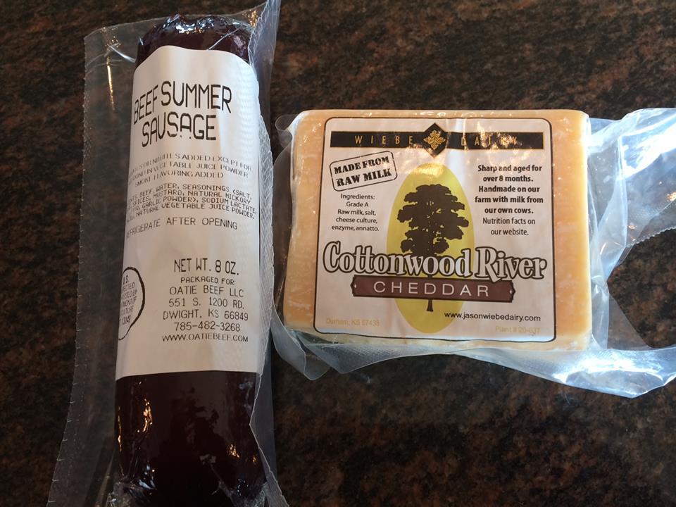 Prairie Fire Kansas Wine, Wiebe Cheese, & Oatie Beef.